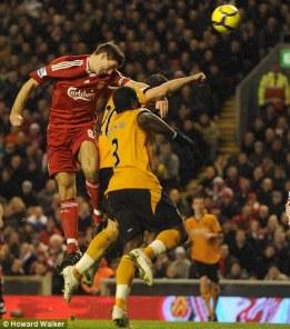 Steven Gerrard heads Liverpool's opener